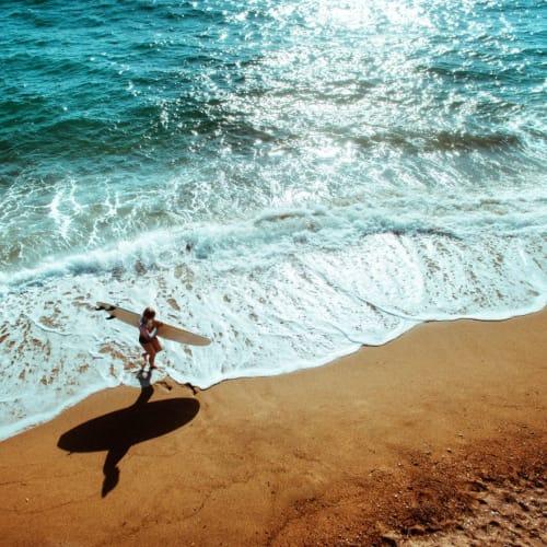 Resident enjoying the beach near Courtney Isles in Yulee, Florida