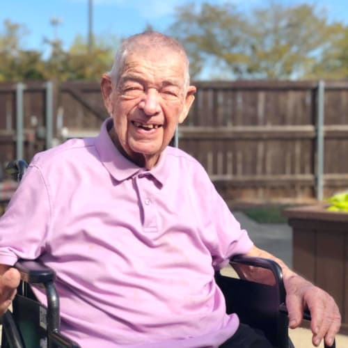 Resident enjoying the outdoors at Oxford Senior Living in Wichita, Kansas