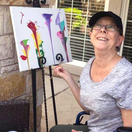 Resident painting at Oxford Senior Living in Wichita, Kansas