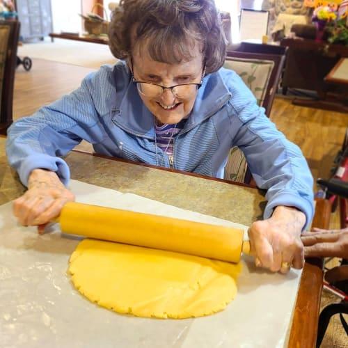 Resident baking at Oxford Senior Living in Wichita, Kansas