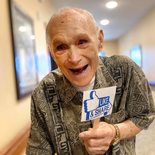 Smiling resident at Oxford Senior Living in Wichita, Kansas