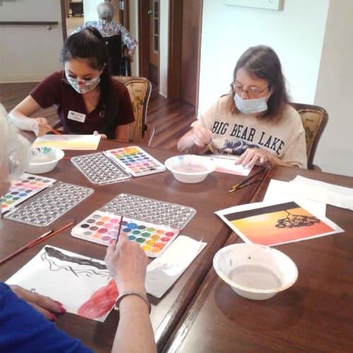 Residents painting at Oxford Senior Living in Wichita, Kansas