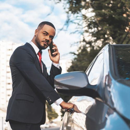 Resident getting into his car at Wellington Point in Atlanta, Georgia