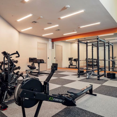 Rowing machines and cardio equipment in the fitness center at The Guthrie in Austin, Texas