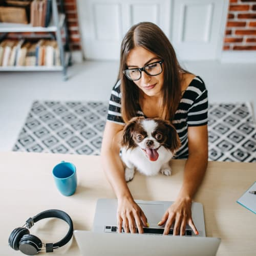 Resident working on her laptop with her dog on her lap at Reserve at Twin Oaks in Clarkston, Georgia