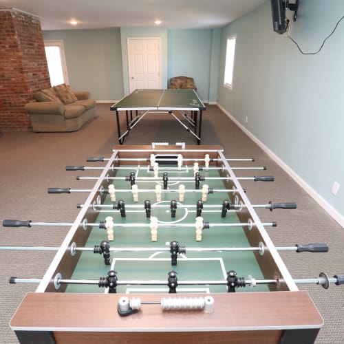 Resident gaming lounge at Willowbrook Apartments in Louisville, Kentucky