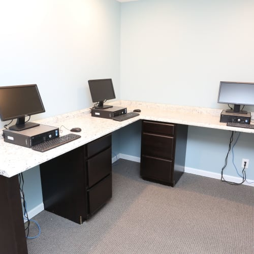 Computers in the business center at Willowbrook Apartments in Louisville, Kentucky