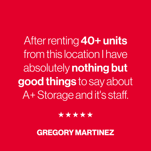 A five star review from Gregory Martinez for A+ Storage in Miami, Florida