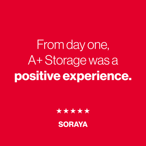 A five star review from Soraya for A+ Storage in Miami, Florida