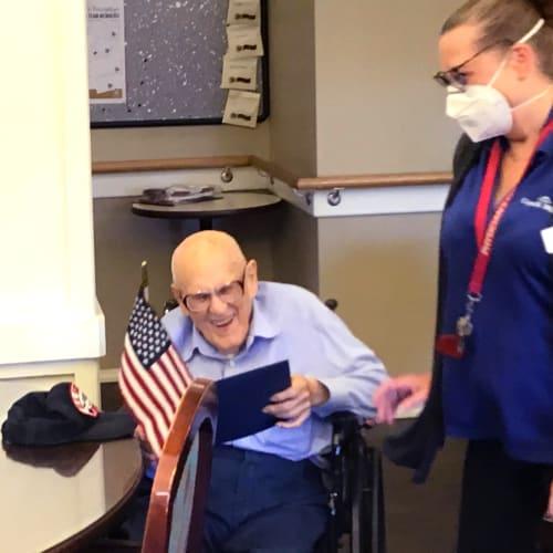 Veteran resident at Canoe Brook Assisted Living & Memory Care in Catoosa, Oklahoma