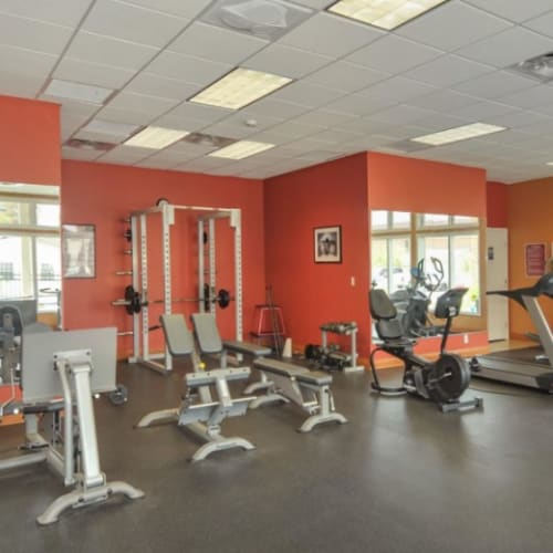 A fitness center with individual workout stations at Tanglewood Apartments in Louisville, Kentucky