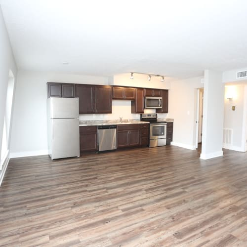 A kitchen in an open-concept floor plan at Reserve at Lindsay in Louisville, Kentucky