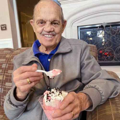A resident eating ice cream at FountainBrook in Midwest City, Oklahoma