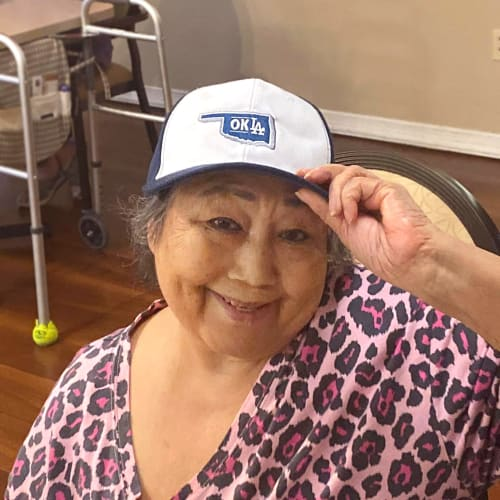 Resident wearing a trucker hat at Canoe Brook Assisted Living in Duncan, Oklahoma