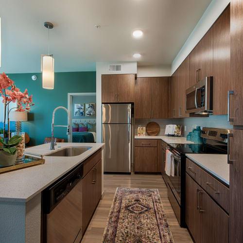 Spacious kitchen at Ocio Plaza Del Rio in Peoria, Arizona