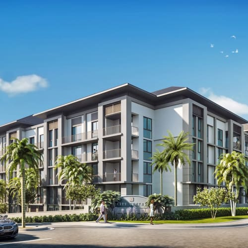 Exterior rendering of our luxury community at Solera at City Centre in Palm Beach Gardens, Florida