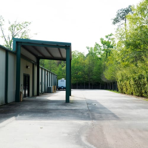 Outdoor storage units at Red Dot Storage in Madisonville, Louisiana