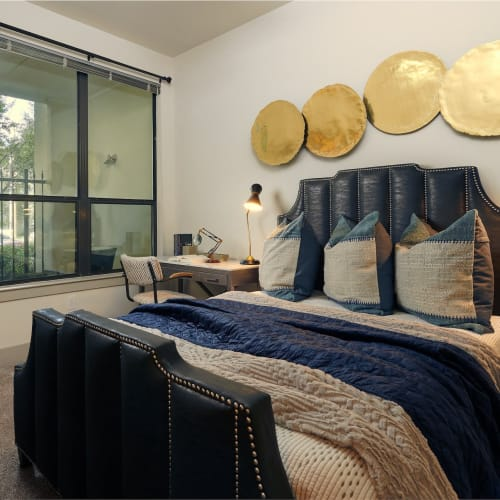 Cute decorated bedroom at Seville Uptown in Dallas, Texas