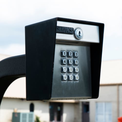 Keypad at the entrance gate of Red Dot Storage in Denham Springs, Louisiana