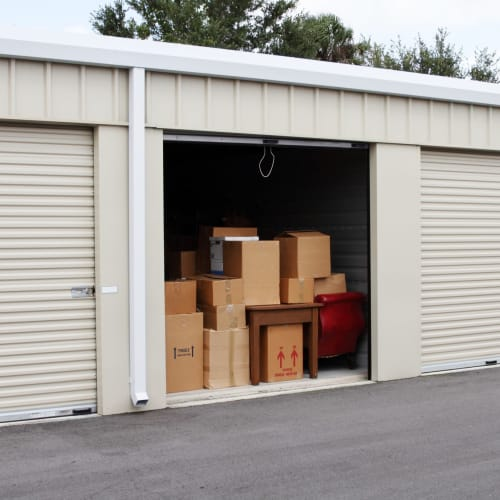 An open ground floor unit at Red Dot Storage in New Palestine, Indiana