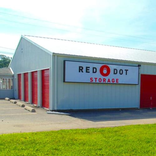 Outdoor storage units at Red Dot Storage in Grand Ledge, Michigan