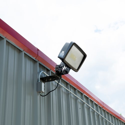Bright exterior lighting at Red Dot Storage in Evansville, Indiana