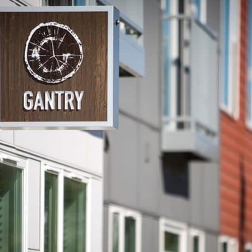 Outside sign at Gantry Apartments in Cincinnati, Ohio