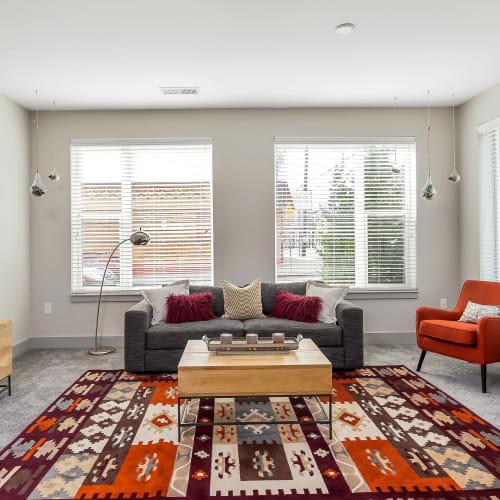 Living room with carpet at Gantry Apartments in Cincinnati, Ohio