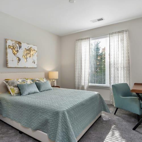 Bright bedroom at Gantry Apartments in Cincinnati, Ohio