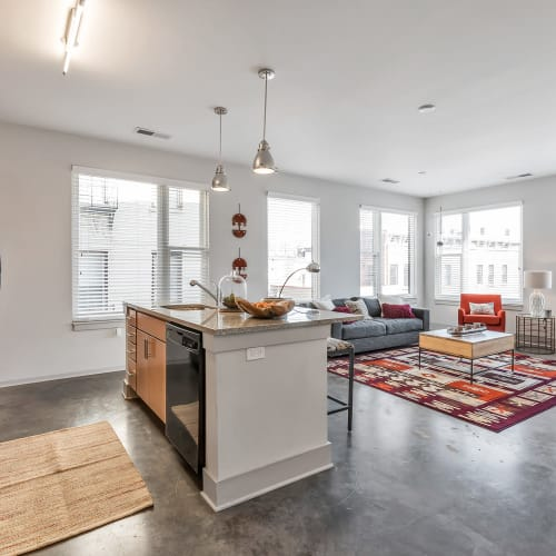 Kitchen and living area at Gantry Apartments in Cincinnati, Ohio
