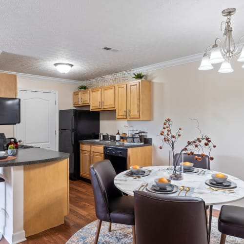 Kitchen and dining area at Lakefront at West Chester in West Chester, Ohio
