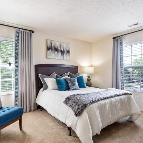 Lots of windows in a bedroom at Lakefront at West Chester in West Chester, Ohio