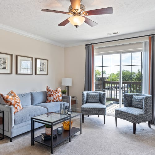 Bright living room at Lakefront at West Chester in West Chester, Ohio