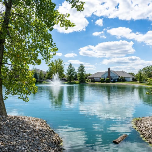 Blue water and sky at Lakefront at West Chester in West Chester, Ohio