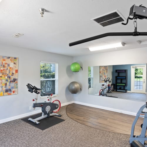Lots of room to work out in the fitness center at Lakefront at West Chester in West Chester, Ohio