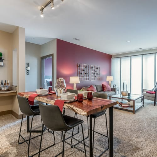 Living and dining area in a model home at Latitude at Deerfield Crossing in Mason, Ohio