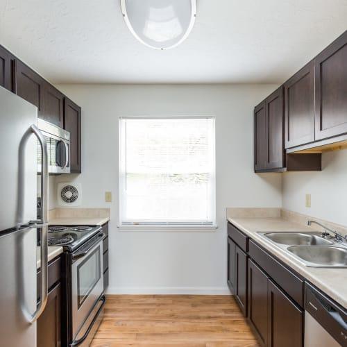 Kitchen in a model home at Mallard Lakes Townhomes in Cincinnati, Ohio
