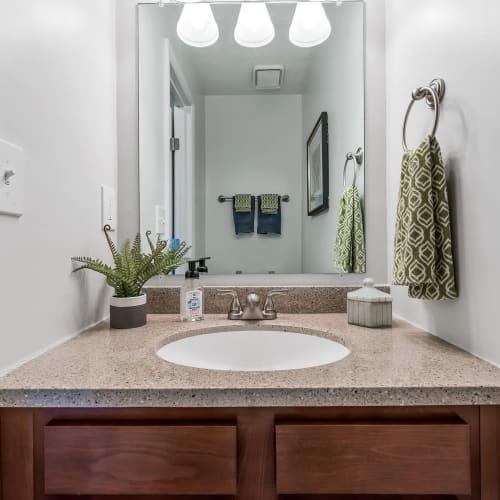 Modern sink and mirror at Mallard Lakes Townhomes in Cincinnati, Ohio