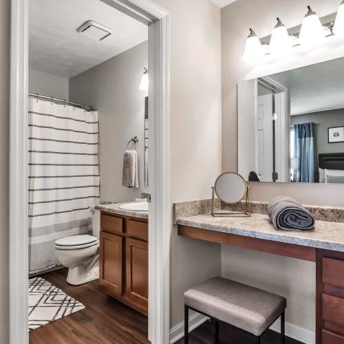 Modern bathroom at Mallard Lakes Townhomes in Cincinnati, Ohio