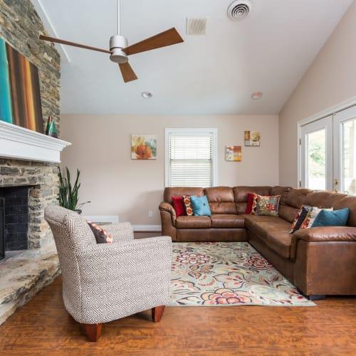 Living room in a model home at Mallard Lakes Townhomes in Cincinnati, Ohio