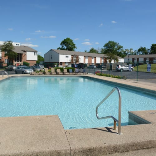 A large swimming pool at Woodmere Apartments in Cincinnati, Ohio