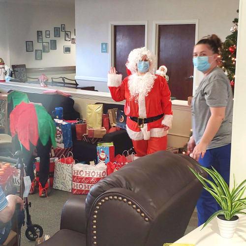 Santa and caregiver at Saunders House in Wahoo, Nebraska