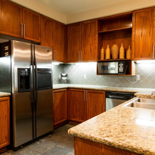 Community clubhouse kitchen with stainless steel appliances and cabinets at Marquis at Texas Street in Dallas, Texas