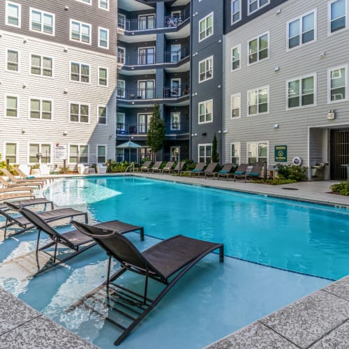 Sparkling outdoor pool at Skyline West in Atlanta, Georgia