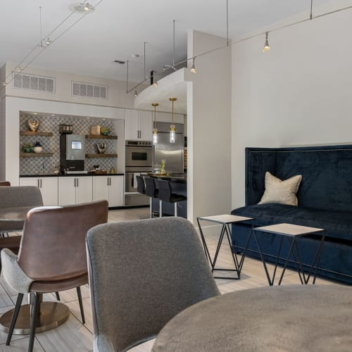 Clubroom for residents at Marquis Lofts on Sabine in Houston, Texas