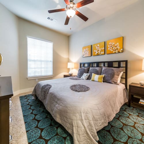 Cozy bedroom at The Marq at Ridgegate in Lone Tree, Colorado
