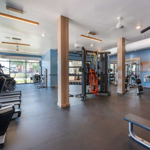 Fully equipped fitness center at Marq Iliff Station in Aurora, Colorado