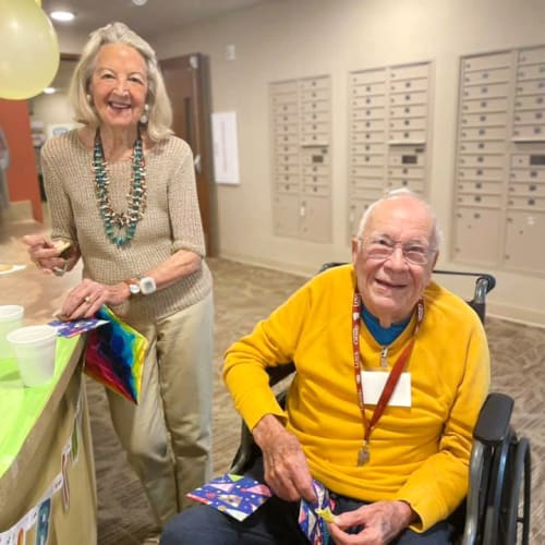 Resident celebrating a birthday at The Oxford Grand Assisted Living & Memory Care in McKinney, Texas