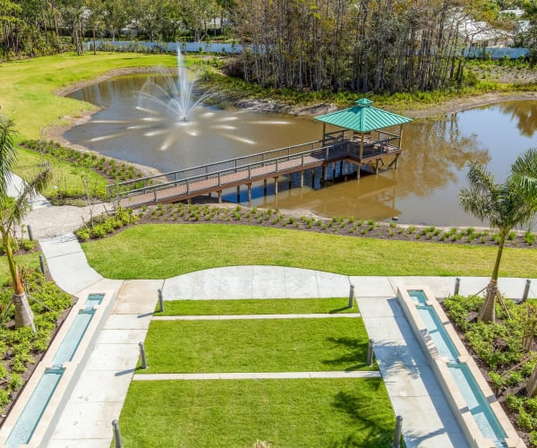 Fabulous on-site pond with a water feature at All Seasons Naples in Naples, Florida