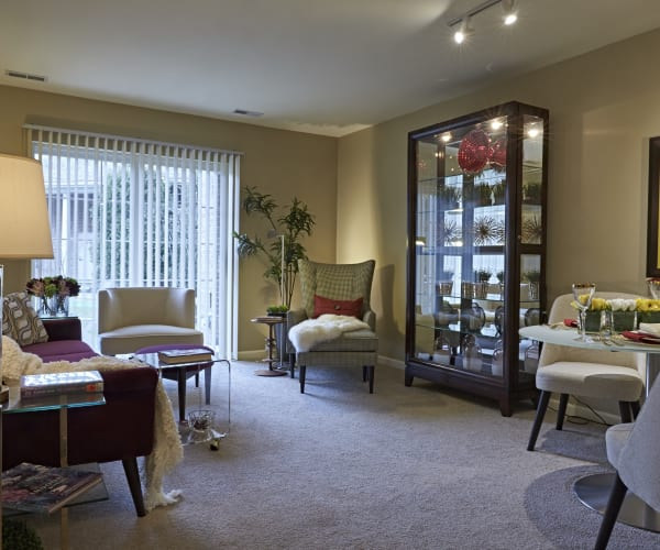 Spacious, comfortable living room at All Seasons of Rochester Hills in Rochester Hills, Michigan